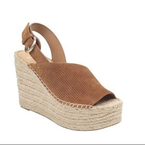 NWT Marc Fisher Espadrille Wedge Brown Women's